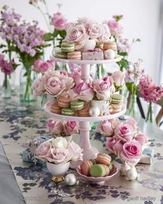 Pretty cake stand with macarons and roses.perfect for pretty Christmas entertaining Take from the pages of Christmas At Home by stylist Sandra Kaminski and photographer Geoff Hedley Deco Buffet, Deco Table, Vintage Tea Parties, Tea Party Table, Afternoon Tea Parties, Afternoon Tea Party Decorations, Afternoon Tea Recipes, Tea Party Bridal Shower, Tea Party Wedding