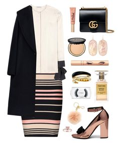 """""""First autumn night out"""" by celida-loves-pink ❤ liked on Polyvore featuring Gucci, Miss Selfridge, Nina Ricci, MaxMara, Too Faced Cosmetics, Mulberry, Michael Kors, Kendra Scott, MAC Cosmetics and autumn"""
