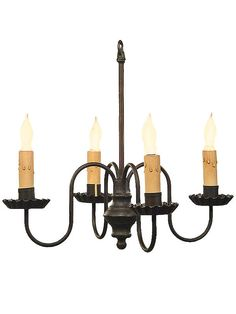 Antique Lighting Fixtures Peppermill 4 Light Wrought Iron Chandelier With Black Finish I