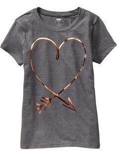 Girls Metallic Graphic Tees Product Image