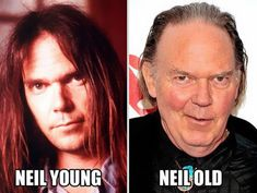 Funny Celebrity Pun Pictures - Neil Young Old Neil Young, Beatles, Celebrity Name Puns, Pun Names, Celebrities Then And Now, Funny Celebrities, Young Old, Stars Then And Now, The Clash