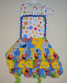 Sesame Street Apron Little Gril Ready to Ship Fits 3t to 6 Elmo Cookie Monster Big Bird Oscar the Grouch Ruffled Full Little Girl