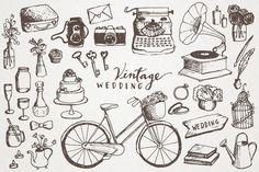 Vintage Wedding Clipart - hand drawn clip art, vintage elements, hipster wedding, diy wedding invitations, instant download, scrapbooking