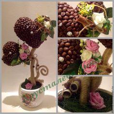 Купить Весна в сердце - разноцветный, топиарий, топиарий дерево счастья, топиарий из кофе
