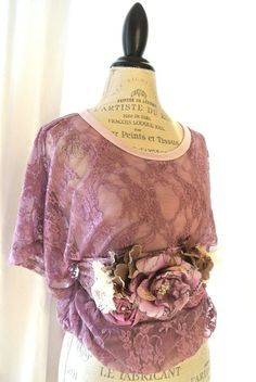 SHABBY CHIC CLOTHING | Shabby lace top, country chic womens clothing, cottage, lavender, fall ...