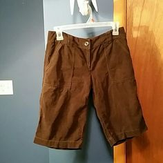 J. Crew brown thin corduroy long shorts In excellent condition. Two front pockets and two back pockets. Zipper front as well as a inside tie.  City fit* J. Crew Shorts Bermudas