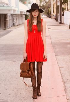 Like the tights with the dress, not so sure about the hat...