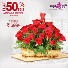 #Deal of the Day! Flat 50% OFF. Get this #Stunning #Bouquet of 50 #red roses worth Rs.1399 at just Rs 699 only at #Sendmygift. #Roses are the perfect means for expressing your #love and #affection to your #special one. Order this Bouquet now and express your #feelings from all your #heart. Order now at http://bit.ly/2bFazaS  ROSES Bouquet of the Day Amazing Nature Flowers And Feelings Flowers And Feelings India Sendmygift