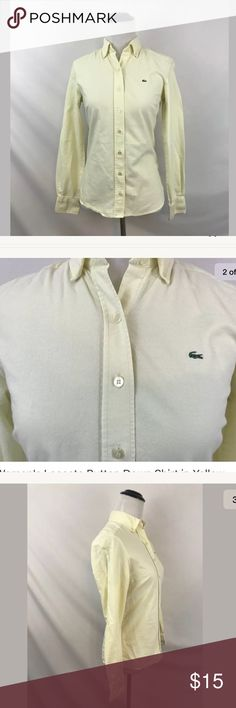 "Lacoste Button Down Shirt in Yellow Size 34 Women's Lacoste Button Down Shirt in Yellow Size 34  Item is preowned, but is in great used condition. Does not have any holes, tears, rips, or stains.  Approximate Measurements:  Armpit to armpit: 16.25""  Shoulder to bottom hem: 23.25""  Waist (natural, lying flat): 14"" Sleeve length: 22.5"" Lacoste Tops Button Down Shirts"