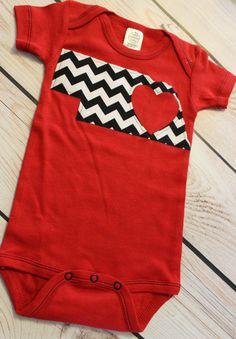 Short Sleeve Red Nebraska Onesie with Black & White Chevron on Etsy, $20.00