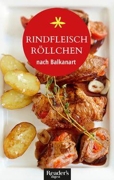 Rindfleisch-Röllchen nach Balkanart Sausage, Beef, Chicken, Recipes, Food, One Pot, Food Food, Rezepte, Meat