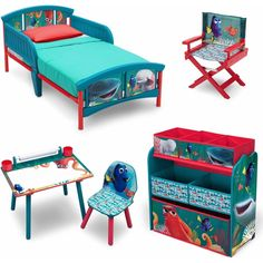Delta Disney Finding Dory 5 Piece Furniture Kids Set - Plastic Toddler Bed, Multi-Bin Organizer, Art Desk and Chair, Director's Chair for Girls Toddler Kids Bedroom Furniture, Bedroom Decor, Toddler Bedroom Sets, Childrens Bedroom, Disney Finding Dory, Finding Nemo, Disney Pixar, Toy Storage Bins, Bed Table