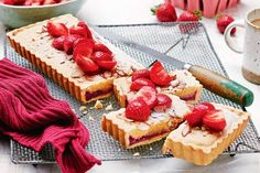 For the perfect spring delight try this heavenlyalmond and strawberry tart made with homemade vanilla-rhubarb jam. Fresh Strawberry Recipes, Strawberry Tart, Coles Recipe, French Patisserie, Homemade Vanilla, Tray Bakes, Quick Easy Meals, Food Processor Recipes, Platform