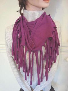 FRINGED SCARF FROM A T-SHIRT - via @Craftsy