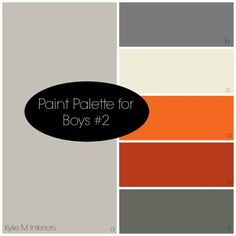 paint colour palette for boys room based on sherwin williams mindful gray, charcoal gray, orange and red. Bedroom ideas