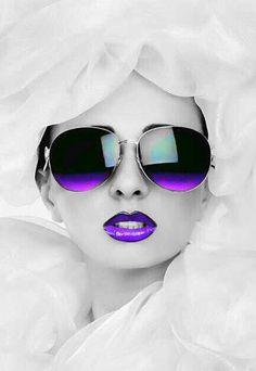 Purple Kissable Lips With Sunglasses