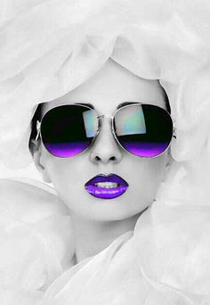 Purple Kissable Lips With Sunglasses