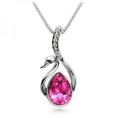 Silver Plated Pink Crystal Swan Necklace - Necklaces
