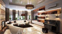 Дизайн коттеджа 72, 255 кв.метров - проекты от студии интерьеров АвКубе. Портфолио лучших загородных домов в стиле современный эклектика Divider, Cottage, Ceiling Lights, Lighting, Room, Furniture, Design, Home Decor, Bedroom