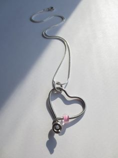 Bicycle love! Stainless Steel Spoke Heart and Pink Glass Bead Necklace