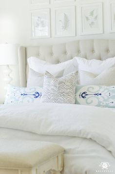 Decked and Styled Spring Home Tour - Kelley Nan- white and blue guest bedroom