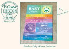 Rainbow Baby Shower Invitation Suite DEPOSIT / Baby by BowDesignCo