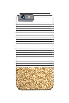 Allyson Johnson iPhone 6 Slim Case in Minimal Gold Glitter Stripes, $35; society6.com   - ELLE.com