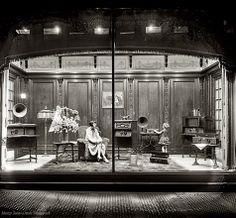 Department store window display of Atwater Kent radio equipment circa 1928 in Washington, D.C.