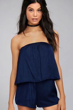 Dinner on the beach is calling our name in the Catia Navy Blue Satin Strapless Romper! Sleek satin shapes an elastic strapless neckline, and billowing flounce bodice. Shorty shorts descend from a flattering elasticized waistband, completing this chic little number!