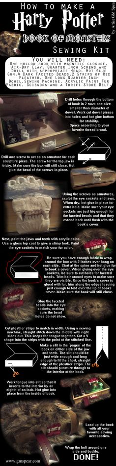How to make a HARRY POTTER Book of Monsters Sewing Kit!! by Artist GM Spear.