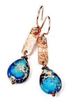 Aqua Terra Jasper and Hammered Copper Earrings | adora_by_simona - Jewelry on ArtFire