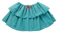 Organic Cotton Girls Rara Skirt - Peacock Blue Daisy Cord - available in sizes 3-4 years up to 7-8 years - RRP £24.00