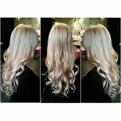 """18"""" Tape Hair Extensions For Length & Volume #curls #hair #style #blonde #highlights #platinumblonde #color #hairextensions #tapehairextensions"""