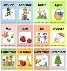 Ideenreise: Monthly posters as a package 2020 - ideas kindergarten gesta . Welcome September, Kindergarten Portfolio, Seasons Activities, Feelings Activities, German Grammar, German Language Learning, Learn German, Pre School, Art Education