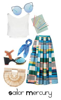 Sailor Mercury, Summer 2017 by blondasaurus on Polyvore featuring polyvore, fashion, style, McQ by Alexander McQueen, L.K.Bennett, Sophia Webster, Cult Gaia, Matthew Williamson, Hermès, ban.do and clothing