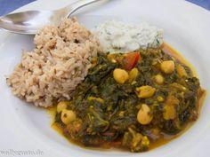 Palak baingan aur channa - Spinat mit Auberginen, Tomaten und Kichererbsen