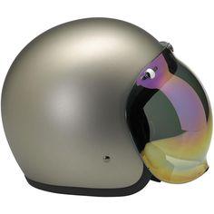Bonanza Helmet, Flat Titanium with a Smoke Gradient Bubble Shield Motorcycle Helmets, Bicycle Helmet, Riding Helmets, Bike, Biltwell Helmet, Triumph Cafe Racer, Cafe Racers, Vintage Helmet, Vintage Cafe Racer