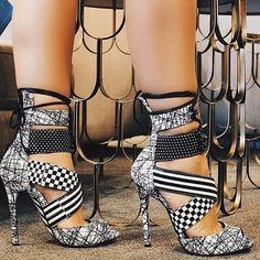 Alejandra G 'Santiago' Mix Print Stiletto Sandal