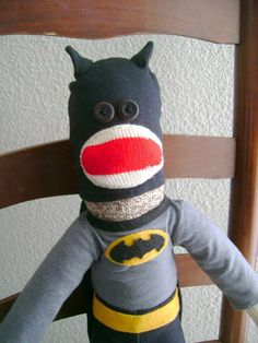 Batman Sock Monkey by DeedleDeeCreations on Etsy Use coupon code OCTOBER for $5 off of any item over $40.00.