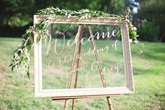 Simple wedding sign- an old picture frame or mirror. Write your message on the glass!