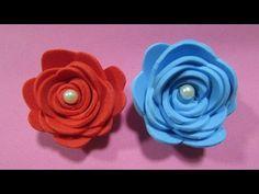 Flor de EVA - Rápido e fácil - YouTube Paper Flowers Craft, Felt Flowers, Flower Crafts, Diy Flowers, Crochet Flowers, Fabric Flowers, Foam Roses, Felt Diy, Food Art