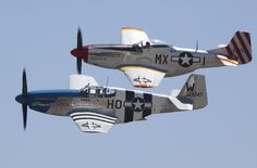 North American P-51B Mustang in formation with a P-51D Chino 2010 Airshow
