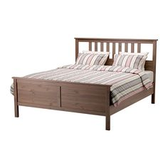 HEMNES Bed frame - gray-brown, Queen - IKEA