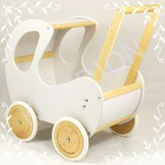 Wózek drewniany z budką dla lalek retro białe-drew
