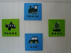 Planes, Trains and Automobiles Wall Art Tutorial (with templates) - Cook Clean Craft
