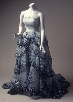 Christian Dior (French, 1905–1957). Ballgown (Juno), 1949. Silk tulle embroidered with sequins with silk faille inner skirt; horsehair stiff...