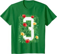 Amazon.com: Floral Number 3 Flower Three Gardener Summer Flowers T-Shirt: Clothing