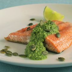 Seared Salmon with Cilantro-Pepito Pesto by sippitysup cooking guide Salmon Recipes, Fish Recipes, Seafood Recipes, Healthy Recipes, Seafood Dishes, Fish And Seafood, Cilantro Pesto, Pesto Salmon, Clean Eating
