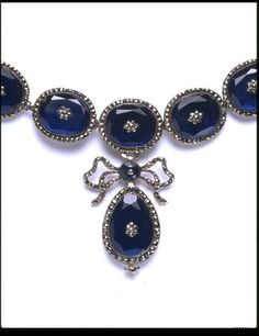 Necklace, glass pastes and pyrites in silvered copper settings 1810-1840 | V&A Search the Collections