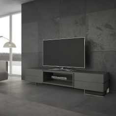 Modern and Contemporary designer TV cabinets that you wont find anywhere else. Chrome, white, grey or black gloss, oak, walnut and elm. Free delivery and interest free credit available Tv Cabinet Design Modern, Modern Tv Wall Units, Modern Interior Design, Tv Unit Design, Tv Wall Design, Ceiling Design, Grey Tv Unit, Dark Grey Walls, Living Room Tv Unit